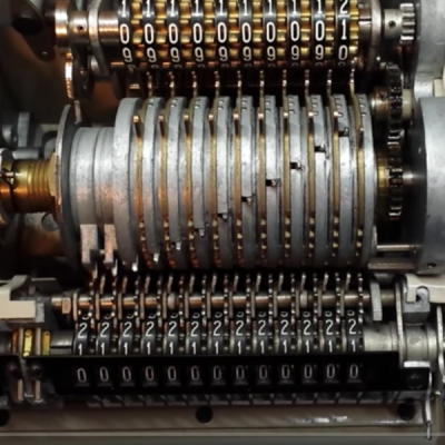 Inside a mechanical calculator